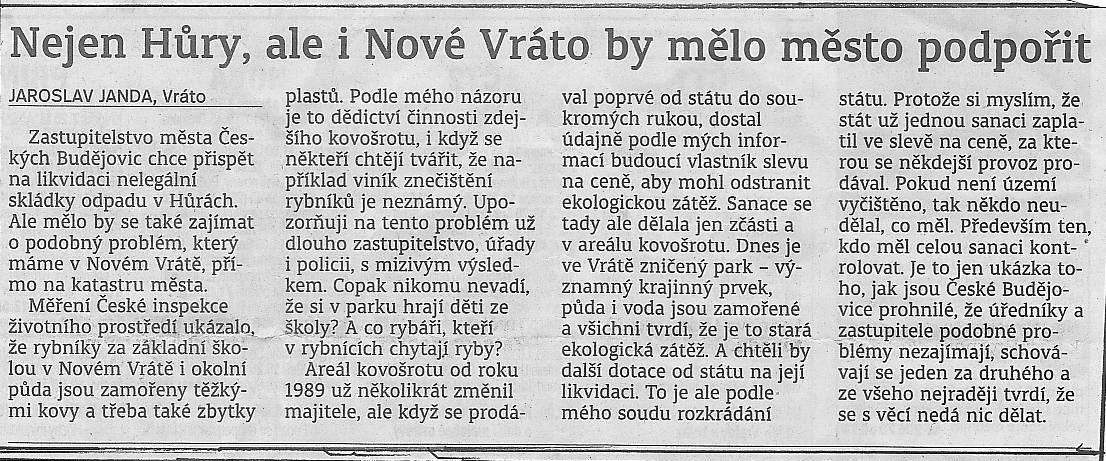 Komentář pana Jaroslava Jandy k investicím města a ke kovošrotu v Novém Vrátě