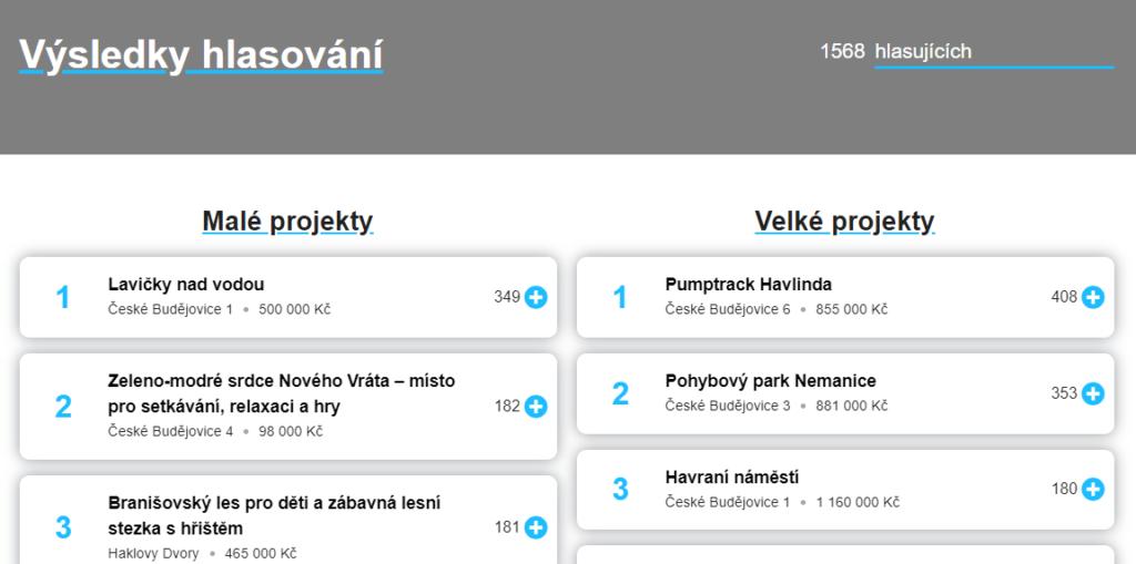 Výsledek hlasování - screenshot z webu probudejce.cz